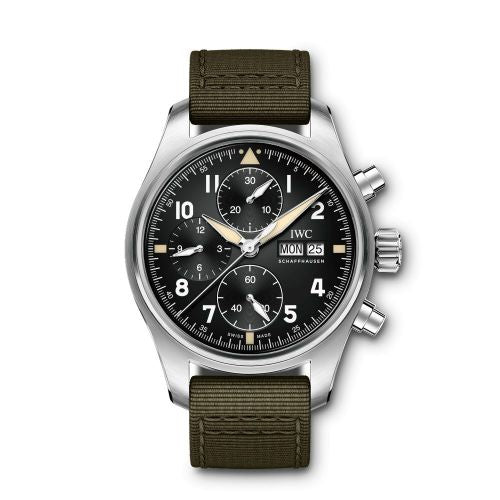 Authentic IWC Pilot's Watch Chronograph Spitfire Stainless Steel Black Textile IW387901