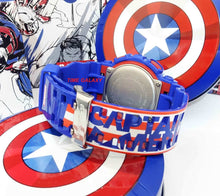 Load image into Gallery viewer, Captain America shield colour blue and red with logo on the watch strap band