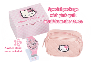 New authentic Baby-G x Hello Kitty wrist watch comes with pink quilt motif and watch stand