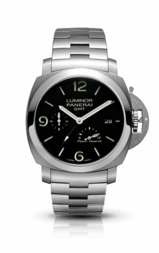 Authentic Panerai Luminor 3 Days GMT Power Reserve Automatic Acciaio 44mm PAM 347 Watch