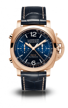 Load image into Gallery viewer, Authentic Panerai Luminor PCYC Chrono Flyback Automatic Oro Rosso Blue PAM 1020 Watch