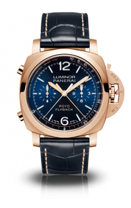 Authentic Panerai Luminor PCYC Chrono Flyback Automatic Oro Rosso Blue PAM 1020 Watch