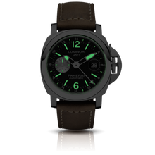 Load image into Gallery viewer, Panerai PAM1088 black dial, mixed indexes, stick hands, date display, night indicator