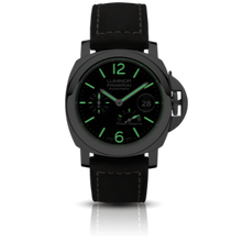 Load image into Gallery viewer, Panerai PAM1090 black dial, mixed indexes, stick hands, date display, night and power reserve indicators