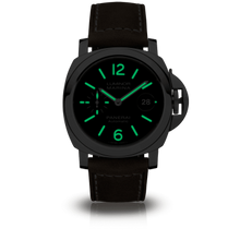 Load image into Gallery viewer, Panerai PAM1104 black dial, mixed indexes, date display, night indicator