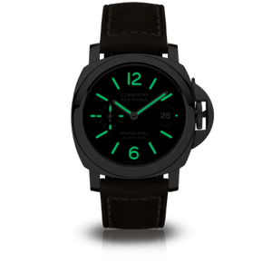 Panerai PAM1104 black dial, mixed indexes, date display, night indicator