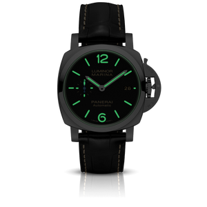 Panerai PAM1392 black dial, mixed indexes, night indicator