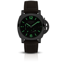 Load image into Gallery viewer, Panerai PAM1537 black dial, mixed indexes, stick hands, date display, night indicator
