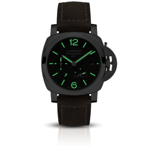 Panerai PAM1537 black dial, mixed indexes, stick hands, date display, night indicator