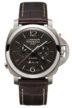 Load image into Gallery viewer, Authentic Panerai Luminor 1950 Chrono Monopulsante 8 Days GMT Titanio PAM 311 Watch