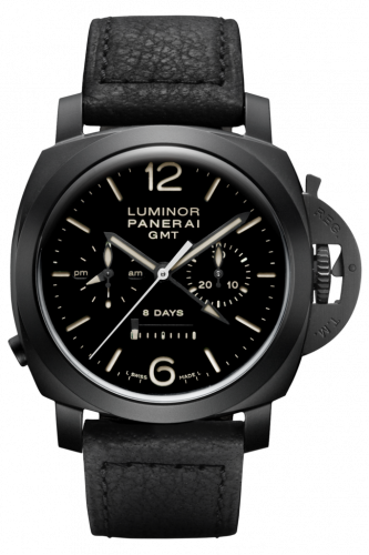 Authentic Panerai Luminor 1950 Chrono Monopulsante 8 Days GMT Ceramica PAM 317 Watch