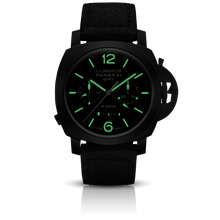 Load image into Gallery viewer, Panerai PAM317 black dial, mixed indexes, stick hands, date display, chronograph, column wheel, monopoussoir, night indicator