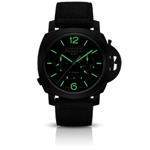 Panerai PAM317 black dial, mixed indexes, stick hands, date display, chronograph, column wheel, monopoussoir, night indicator
