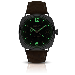 Panerai PAM495 black dial, Arabic numerals indexes, stick hands, night indicator