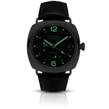 Load image into Gallery viewer, Panerai PAM496 black dial, Arabic numerals indexes, stick hands, night indicator