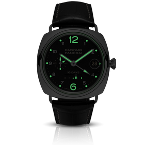 Panerai PAM496 black dial, Arabic numerals indexes, stick hands, night indicator