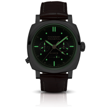 Load image into Gallery viewer, Panerai PAM503 black dial, mixed indexes, stick hands, night indicator