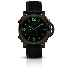 Load image into Gallery viewer, Panerai PAM525 black dial, mixed indexes, stick hands, date display, night indicator