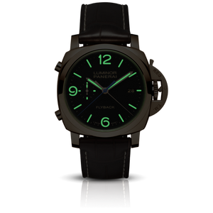 Panerai PAM525 black dial, mixed indexes, stick hands, date display, night indicator