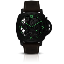 Load image into Gallery viewer, Panerai PAM528 skeleton dial, mixed indexes, stick hands, night indicator