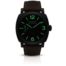Load image into Gallery viewer, Panerai PAM532 black dial, mixed indexes, stick hands, night indicator