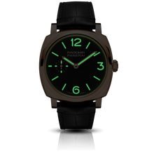 Load image into Gallery viewer, Panerai PAM575 black dial, mixed indexes, stick hands, night indicator