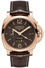 Load image into Gallery viewer, Authentic Panerai Luminor 1950 8 Days GMT Oro Rosso PAM 576 Watch