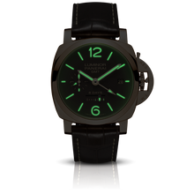 Load image into Gallery viewer, Panerai PAM576 brown dial, mixed indexes, stick hands, date display, night indicator