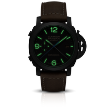 Load image into Gallery viewer, Panerai PAM580 black dial, mixed indexes, stick hands, date display, night indicator