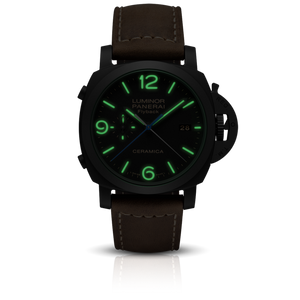 Panerai PAM580 black dial, mixed indexes, stick hands, date display, night indicator