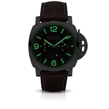 Load image into Gallery viewer, Panerai PAM601 black dial, mixed indexes, stick hands, date and month display, night indicator