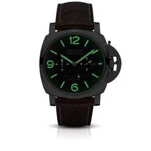 Panerai PAM601 black dial, mixed indexes, stick hands, date and month display, night indicator