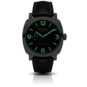 Panerai PAM620 black dial, mixed indexes, stick hands, night indicator