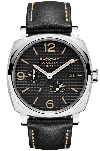 Authentic Panerai Radiomir 1940 3 Days GMT Power Reserve Automatic Acciaio Hobnail PAM 628 Watch