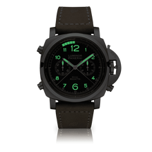 Load image into Gallery viewer, Panerai PAM652 black dial, mixed indexes, stick hands, column wheel, flyback, night indicator