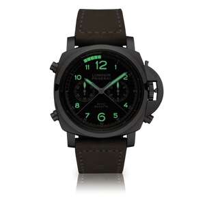 Panerai PAM652 black dial, mixed indexes, stick hands, column wheel, flyback, night indicator
