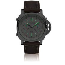 Load image into Gallery viewer, Panerai PAM654 ivory dial, mixed indexes, stick hands, chronograph, column wheel, flyback, night indicator