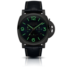 Load image into Gallery viewer, Panerai PAM670 blue dial, mixed indexes, stick hands, date and month display, night indicator