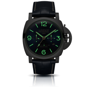 Panerai PAM670 blue dial, mixed indexes, stick hands, date and month display, night indicator