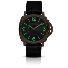 Load image into Gallery viewer, Panerai PAM675 black dial, mixed indexes, stick hands, night indicator