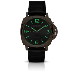 Panerai PAM675 black dial, mixed indexes, stick hands, night indicator