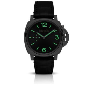 Panerai PAM676 black dial, sunburst finish, mixed indexes, stick hands, night indicator