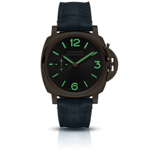 Load image into Gallery viewer, Panerai PAM677 grey dial, sunburst finish, mixed indexes, stick hands, night indicator