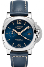 Load image into Gallery viewer, Authentic Panerai Luminor 1950 3 Days GMT Automatic Acciaio 42mm Boutique Blue PAM 680 Limited Edition Watch