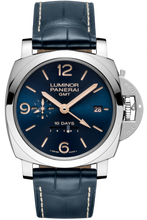 Load image into Gallery viewer, Panerai Luminor 1950 10 Days GMT Acciaio Boutique Blue PAM 689 Limited Edition Watch