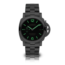 Load image into Gallery viewer, Panerai PAM722 black dial, mixed indexes, stick hands, date display, night indicator