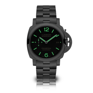 Panerai PAM722 black dial, mixed indexes, stick hands, date display, night indicator