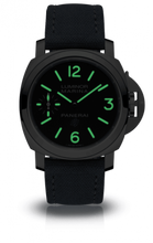 Load image into Gallery viewer, Panerai PAM777 black dial, mixed indexes, stick hands, night indicator