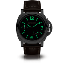Load image into Gallery viewer, Panerai PAM795 black dial, mixed indexes, stick hands, night indicator