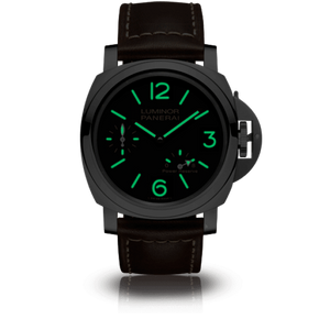 Panerai PAM795 black dial, mixed indexes, stick hands, night indicator